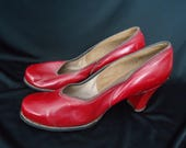 Cherry RED Leather Vintage 1940's WWII Women's Swing Pumps Shoes 8.5 N