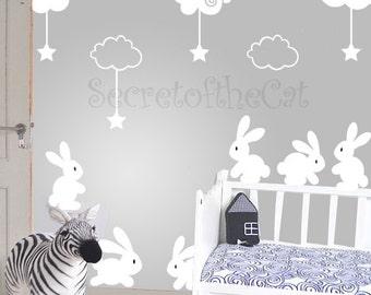 Nursery decal - Rabbit wall sticker - clouds decal - Nursery decal clouds - children decal - set decal