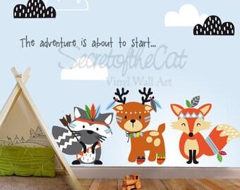 Nursery Wall Decal - Wall Decals Nursery - Tribal - Woodland decal - Fox decal -  Tribal animals