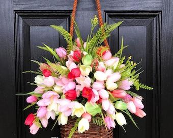 Spring Door Basket Summer Baskets Front Door Baskets Primitive Basket Door Hanger & Door basket   Etsy pezcame.com