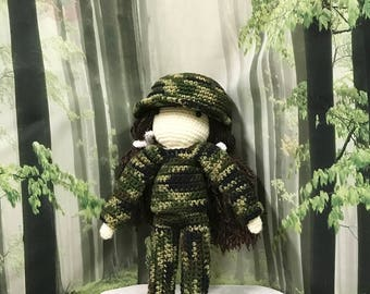 Doll Hunting Outfit, 13 inch Doll Clothes, Doll Hunting Outfit, Doll Camo Set, Doll Camouflage Sweater Set, Girls Birthday Gift