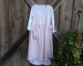 linen jumper pinafore apron dress in light pink one of a kind ready to ship