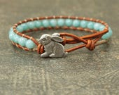 Amazonite Bunny Bracelet Gemstone Rabbit Jewelry Turquoise Bunny Jewelry Shabby Boho Chic Easter Jewelry