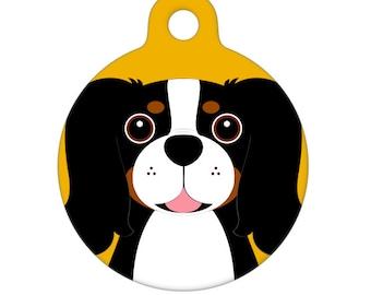 Pet ID Tag - Cavalier King Charles Spaniel - Tricolor Pet Tag, Dog Tag