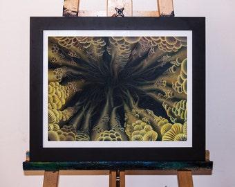 Lotus Sky Mushroom Forest Acrylic Painting Art Print