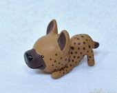 Hand Sculpted Spotted Hyena Derp Figurine