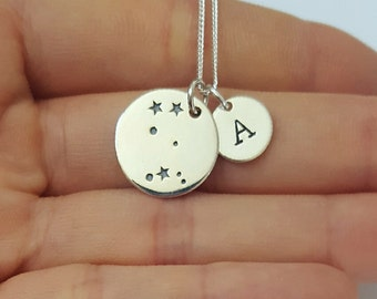 Sterling Silver Gemini Necklace, Personalized Jewelry, Initial Zodiac Necklace, Constellation Necklace, Mother's Gift, Birthday Gift