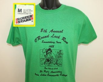 Screen Stars Emmetsburg Iowa O'Round Loch Run vintage t-shirt Medium green soft thin 80s