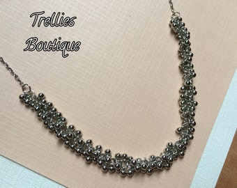 Silver Ball Cluster Necklace- Silver Chain Necklace