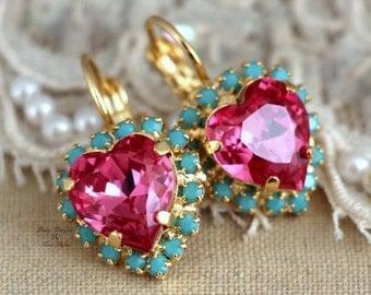 Pink Earrings, Swarovski Drop Earrings,Pink Turquoise Earrings, Heart earrings, Swarovski Earrings, bridesmaids earrings, bridal jewelry.