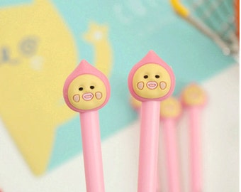 Cute Cartoon Peach Pen - Gel Ink Pen - Kawaii Pen