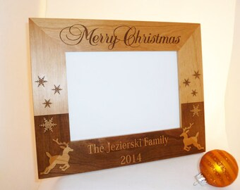 5x7 Photo Christmas Frame Personalized with Family Name & Year Alder Custom//Christmas //holidays