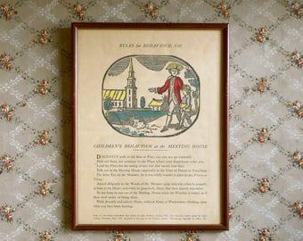 Framed Vintage Print Children's Rules for Behavior Meeting House 1787