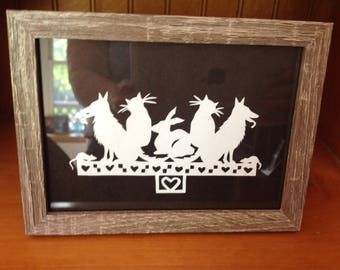 Scherenschnitte paper cutting dogs and cats framed print