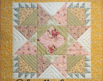 Star and Baskets Wall Quilt, 5079-0, spring Wall hanging, star table mat,  star quilt wedding gift