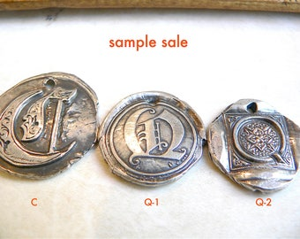 SAMPLE SALE -- Medium- Large Sterling Initials -Wax Seal Jewelry, FREE Shipping within the U.S.  - Your Daily Jewels - Stamped Initials