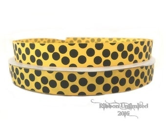 10 Yds WHOLESALE 7/8 Inch YeLLoW with BLaCK Sugar Dots grosgrain ribbon LOW SHIPPING Cost