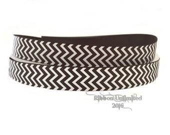 10 Yds. WHOLESALE 7/8 Inch Black & White Chevron grosgrain ribbon LOW SHIPPING Cost