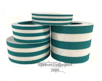10 Yds WHOLESALE Teal TAFFY Stripes grosgrain ribbon LOW Shipping Cost