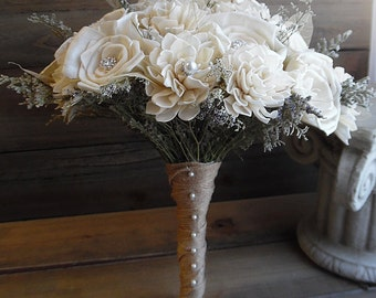 """Ready to Ship ~~~ Large Rustic Bridal Sola Flower Bouquet, 10"""" wide, has 30 flowers and a jute wrapped handle."""