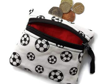 Football coin change purse, zipped pouch