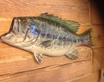 "Large Mouth Bass Jumping 20"" chainsaw wood carved sport fish sculpture home decor rustic man cave wall mount Todd Lynd original art"
