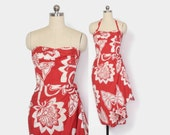 RESERVED // Vintage 50s HAWAIIAN DRESS / 1950s Red Tropical Print Rockabilly Convertible Strapless Halter Sarong Dress