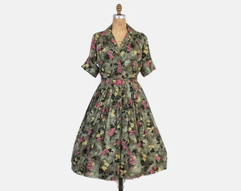 Vintage 50s FLORAL DRESS / 1950s Green Belted Shirtwaist Floral Silk Shirt Dress M