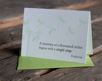 Inspiration card with quote,  letterpress printed, eco-friendly, Confucius quote, dandelion drawing