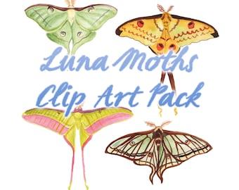 Watercolor Clip Art Luna Moth - Digital Stamp - Scrapbooking Clip Art - Download Moon Moths - Entomology Painting Clipart Lepidoptera