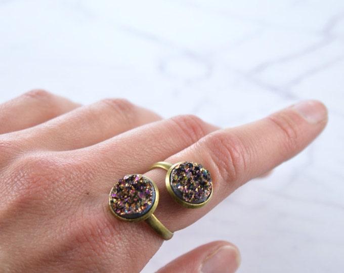 Double Purple Faux Druzy Ring
