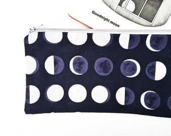 Moon Phase Zipper Pouch, Gift for Women, Moon Print Pencil Pouch, Lunar Phases Pencil Case, Pouch Purse Jewelry Bag Best Friend Gift