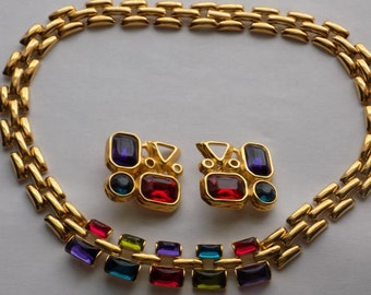 Vintage Trifari necklace, Trifari earrings, Trifari jewelry set, 1970s jewelry, retro jewelry, signed designer jewelry, vintage jewelry