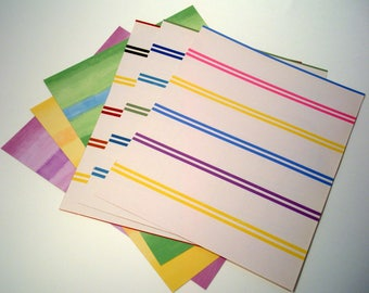 Wallpaper Sample Collage Pack (5 Sheets), Stripe Pattern Paper, Collage Paper, Recycled Paper, Wallpaper Scraps, Card Making Paper