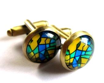 Glass and Brass Geometric Pattern Cufflinks Blue Green Yellow Jewelry for Men