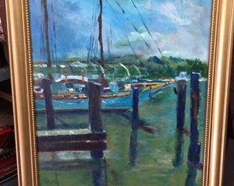 Original Acrylic Painting - Chestertown Maryland marina a 12x16 canvas Panel