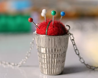 Pin Cushion Thimble Necklace 30'' Chain