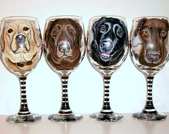 Labs, Labrador Retriever Hand Painted Wine Glasses Custom Pet Portrait of Your Dog, Cat, Horse, Your Pet, Set of  4 - 20 oz. Wine Glasses