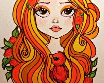 Litte Diva Juliette Fantasy Art Pop Portrait Big Eye Art Print from Leslie Mehl Art