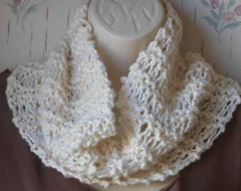cream knit cowl organic cotton cowl drop stitch knit cowl handknit lightweight cowl woman's fashion spring cowl by Peace Stitch Studio