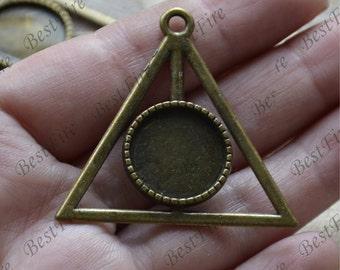 10 pcs Antique Bronze  round Cabochon pendant tray (Cabochon size 16mm),bezel charm findings,lacework findings,cabochon blank finding