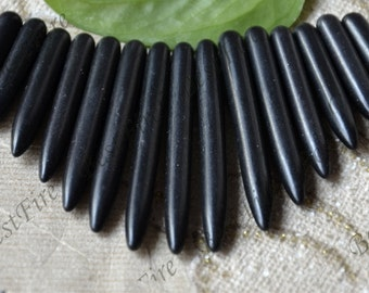 15beads black Turquoise Stick Spike Beads,dyed stone beads ,turquoise spike nugget gemstone beads,turquoise beads