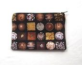 Fancy Chocolates Fabric Coin Purse/Zipper Pouch/Gift Card Envelope Bag