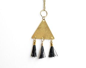 Black Tassel Necklace, Golden Triangle Pendant, Tassel Pendant, Raw Brass Pendant, Long Necklace, Layering Jewelry