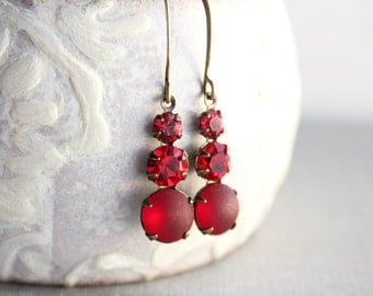 Red Glass Drop Earrings Unique Small Jewel Earrings Lightweight Vintage Style Nickel Free Ruby Red Earrings Valentines Day Gift For Women