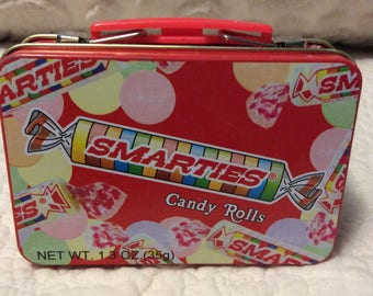 Vintage Smarties Candy Tin Lunchbox small Red Americana Advertising
