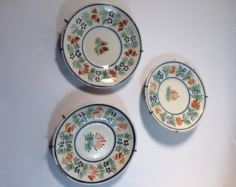 French Pottery Quimper Saucers Set of 3 Henriot Quimper France 1920-1960s with Metal Hangers French Dishes