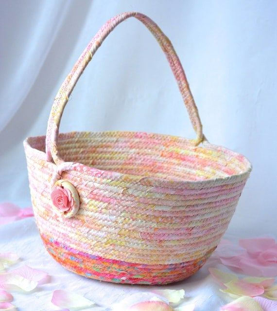 Peach Easter Basket, Handmade Peach Batik Basket, Gorgeous Fiber Pottery Basket, Easter Egg Hunt Bucket,  Easter Decoration