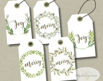 Printable Christmas Gift Tags | Green, Wreaths, Merry, Joy | INSTANT DOWNLOAD pdf