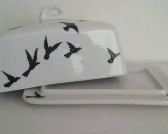 Handpainted flying birds on butter dish